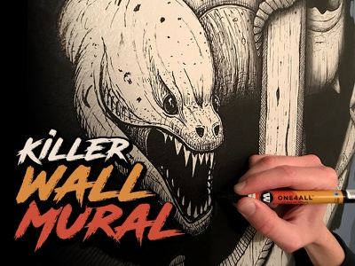 Eel & Anchor Wall Mural - TIME-LAPSE steven skadal wall art process time-lapse molotow ink paint illustration painting mural wall art