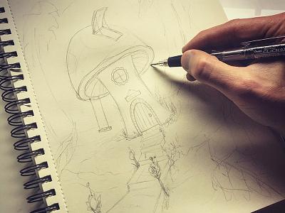Fairy House - concept sketch (WIP) fairy house work in progress mushroom fantasy fairy sketchbook pencil drawing design illustration art sketch