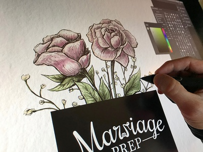 Marriage Prep - Booklet Cover graphic design book cover digital painting design art vintage wacom cintiq painting illustration