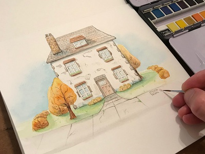 That Old House - watercolor painting drawing trees house home watercolour watercolor illustration painting art