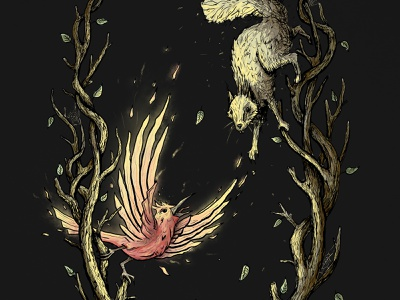 Mother Phoenix - Digital Painting paint squirrel bird photoshop digital art painting drawing art illustration
