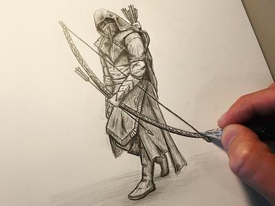 Archer Assassin - sketch steven skadal shading warrior arrow archer assassin black and white pencil sketch drawing art illustration