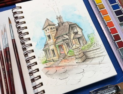Cottage watercolor painting