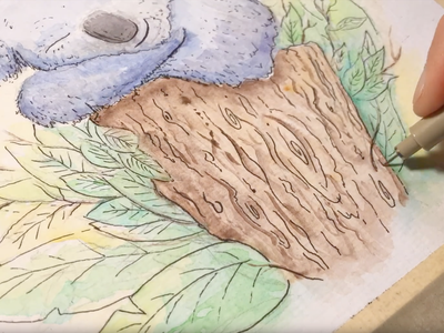 Sleeping Koala - watercolor painting fine art steven skadal pen animals paint watercolor painting ink drawing art illustration