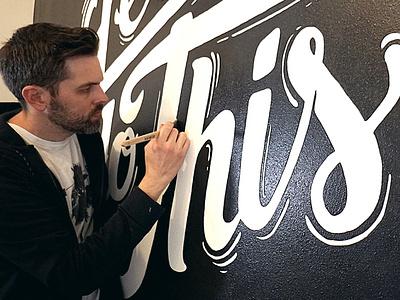 Hand Lettered Wall Mural - Let's Do This! handlettering hand drawn lettering art graffiti streetart brush black and white drawing illustration blackandwhite painting art typography wall mural wall art wall calligraphy lettering lettered