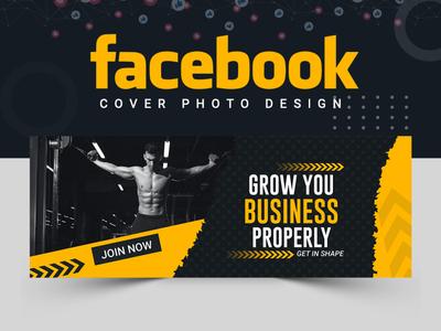 Facebook Cover Design book cover fitness logo fitness cover design facebook post design facebook cover abstract logo branding banner ads banner design illustration abastact banner template
