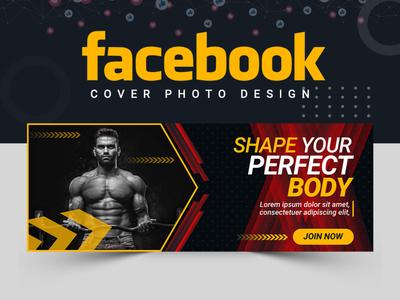 Fitness Facebook Cover Design facebook cover branding cover art cover design ui ux creative concept facebook post design abstract logo abastact illustration banner template