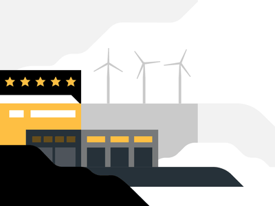 Facility ratings environment facility rating wind turbine design animated illustration motion illustrator animation after effects freight uber 2d flat ratings