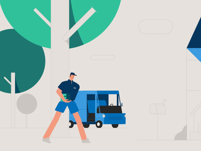 Mail-time! animated illustration character animation after effects 2d