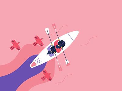 Kayaking motion graphics animated illustrator facebook character animation after effects 2d boat birds kayak kayaking