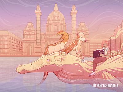 Dino Days: The Illustrator fantasy magical realism paleoart creature design character design illustration dinosaur
