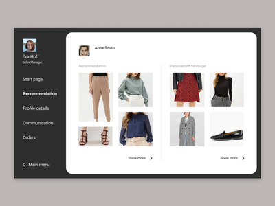 Сoncept app for clothing sellers clothes manager shop ecommerce ux concept ui