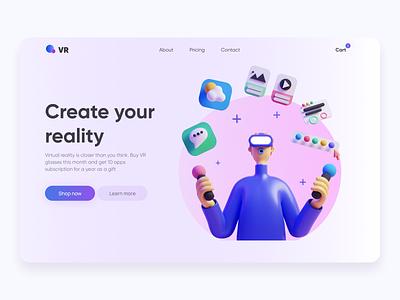 VR Store 3d illustration design concept ux ui ui ux
