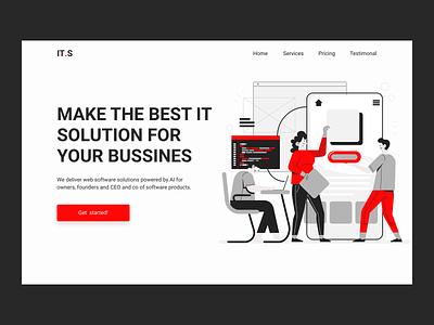 IT solution landing uiux ui web illustraion it