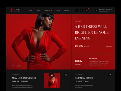 «Lorian» - Online store marketplace ecommerce store design ux ui interface clothing online shopping woocommerce storefront shopify ecommerce fashion online shop shop store online store