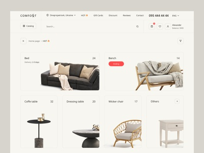 Online store «COMFORT» online shopping product product cart cart website interface ecommerce store marketplace ui ux storefront shopify ecommerce online shop shop online store store