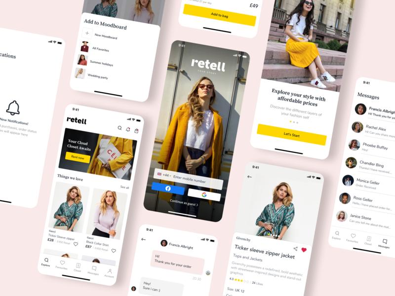 Retell - Online Rental Platform website design online cloth closet 2020 flat minimal app shopping ux ui