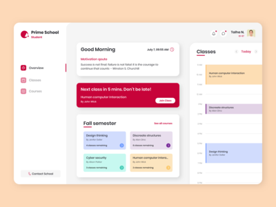 Online Classes Dashboard Concept dashboard ui dashboad school university online classes product design uiux ui