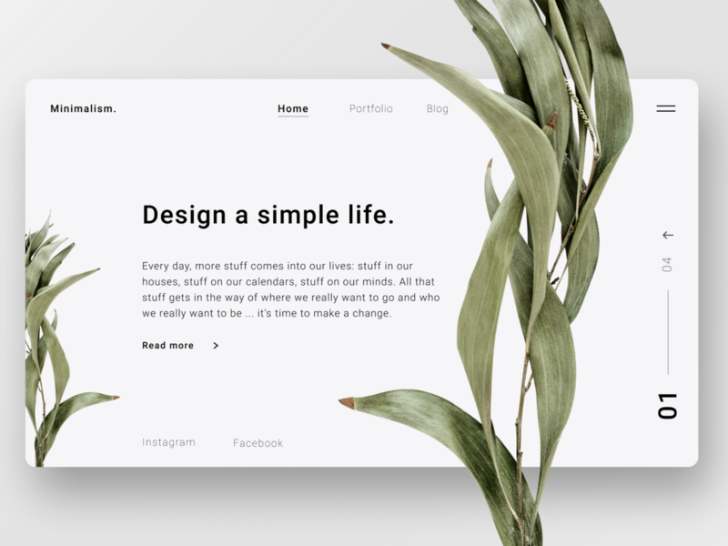 Minimal design minimal website design landing page