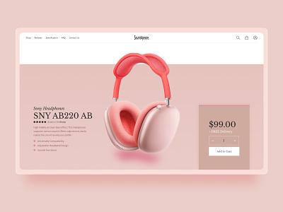 Headphone website uidesigns headphonewebsite earphonewebsite musicwebsite pink pinkwebsite music uxui earphone headphone minimal playerapp website graphic design ui