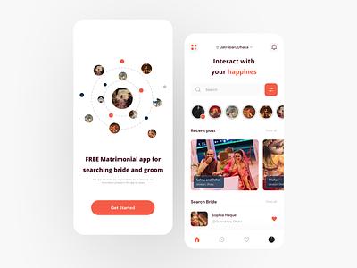 Matrimonial app user interface design. dating groom bride weeding app ui design uidesigns minimal matrimonial graphic design ui
