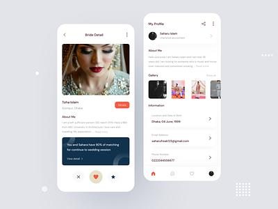 Matrimonial app user interface screen design concept uxdesign design app playerapp ui design ui uidesigns minimal
