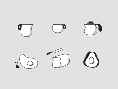 Breakfast Snapshot icons cup coffee avocado toast egg breakfast