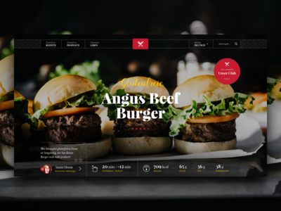 Recipe – Landing Page tasty landing page layout burger ui header website red dark clean community food