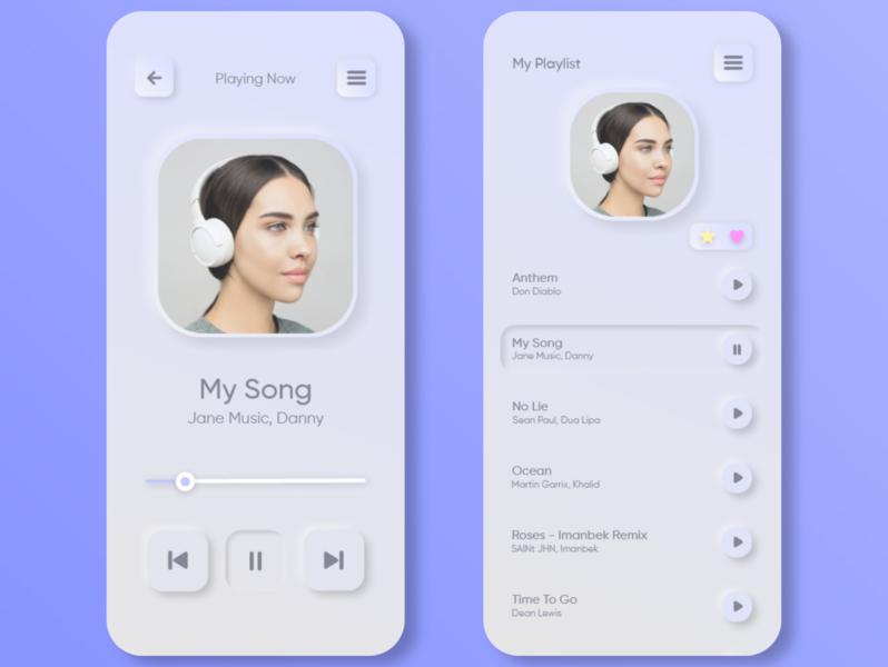 Neumorphism Music Player dailyui player ui air white application design player track recorder music art uxui music app music player music