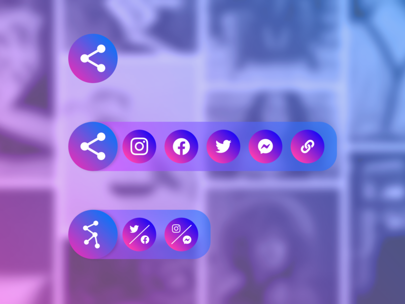 Social icons | Share icons socialmedia icons design gradient blur uxui messenger twitter facebook instagram multishare share icons