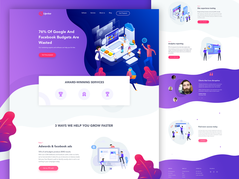 Marketing Agency clean fresh minimal modern red and blue red purple marketing agency marketing landing page vector illustration ux design website ui uiux