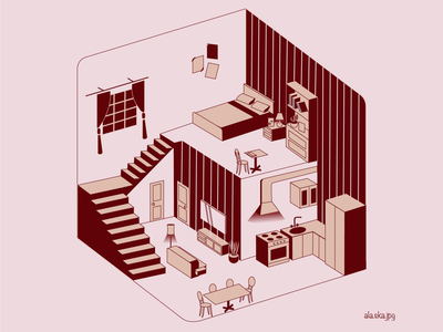 home is where heart is room isometric interior character perspective graphic design illustration
