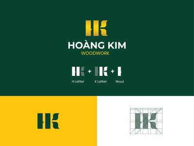 Hoang Kim | Woodwork Company woodworking color palette graphic design golden gradient symbol icon typography illustrator art vector minimal logo flat design branding