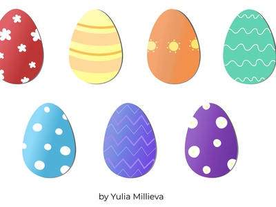 Colorful eggs for Easter isolated vector background design violet dark blue blue green yellow orange red easter egg happy easter easter eggs colors illustration
