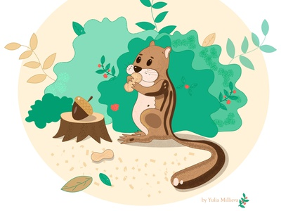 Chipmunk illustration children book illustration childrens illustration childrens book kind nice character design vector animal wood forest nuts chipmunk green design animals print illustration characters
