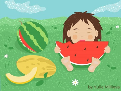 childhood fresh children book childrens book flowers summer green character girl kid child melon childrens illustration watermelon tasty childhood