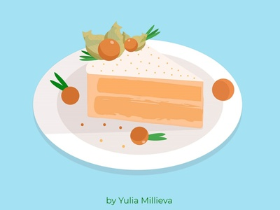 Physalis cake vector food illustration illustraion cream berries physalis backery food tasty sweet cake