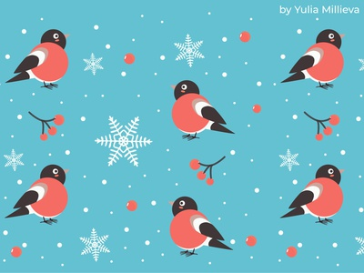 bullfinches pattern blue animals vector illustration red berries christmas flyer birds new year christmas celebration snowflakes snow winter bullfinch