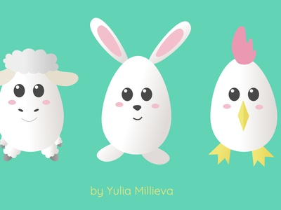 Easter symbols sweet childrens book vector animals illustration childrens illustration children easter eggs symbol easter chuck lamb chicken chick hare rabbit bunny