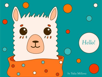 Hi Dribbble! books animals sweet illustration characters llama hello dribble