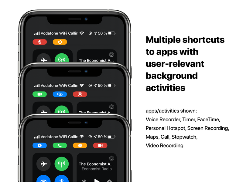 Multiple shortcuts to user-relevant background activies status bar iphone ui shortcuts background activities multitasting ui concept ios 14 ios concept