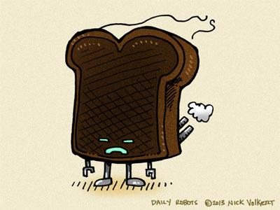Burnt Toast Bot burnt burned toast bread breakfast food robot msced