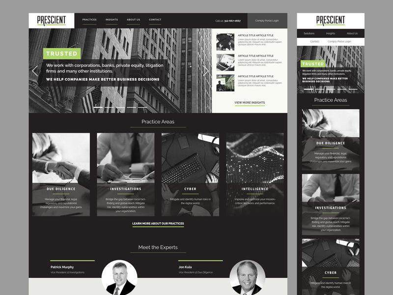 Prescient Home Page dark due diligence investigation portfolio design homepage