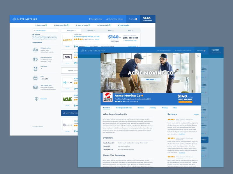 Movematcher Moving Company Overlay ux design ui design modal design ui moving quotes result overlay modal