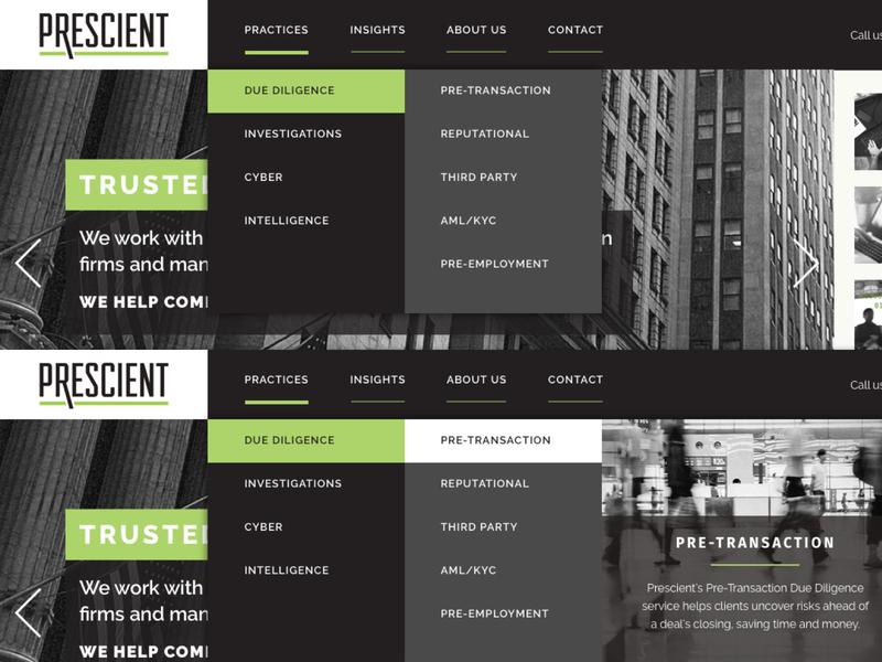 Prescient Dropdown Concept menu bar portfolio website dark ui dropdown menu menu design navigation menu dropdown