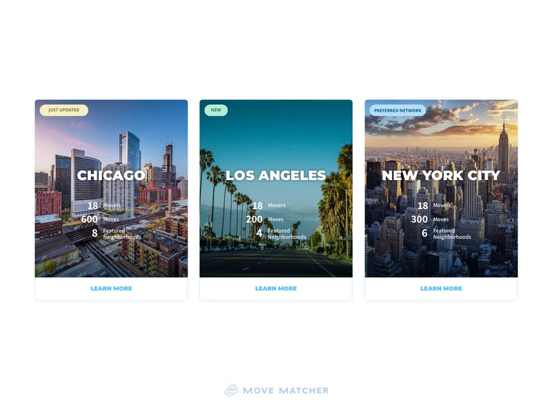 Movematcher City Cards uiux new york city los angeles chicago city ux design ui design homepage design homepage