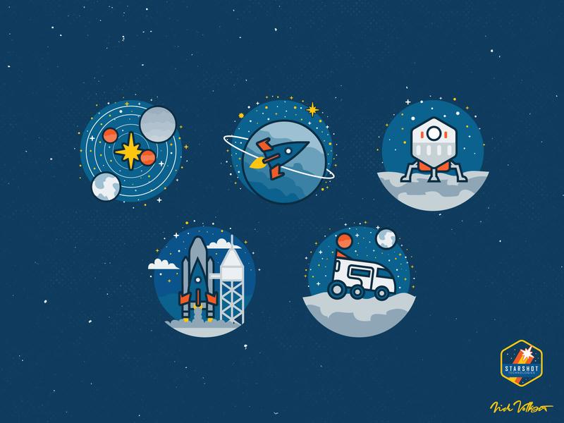 Starshot Spot Illustrations spot illustration illustration icon design iconography ux design ui design galaxy rocket stars space outerspace interstellar