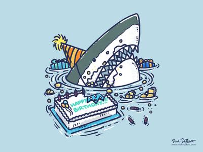 Sheetcake Destruction Shark illustration frosting cake sheet cake happy birthday birthday great white shark