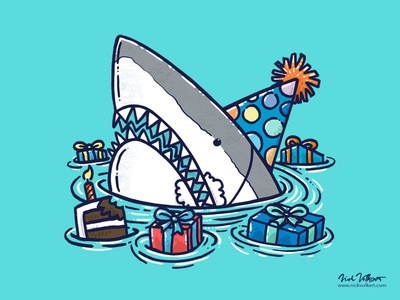 Birthday Shark III cake illustration happy birthday great white shark birthday