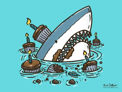 Cupcake Destruction Shark candles great white illustration frosting shark happy birthday birthday cupcakes